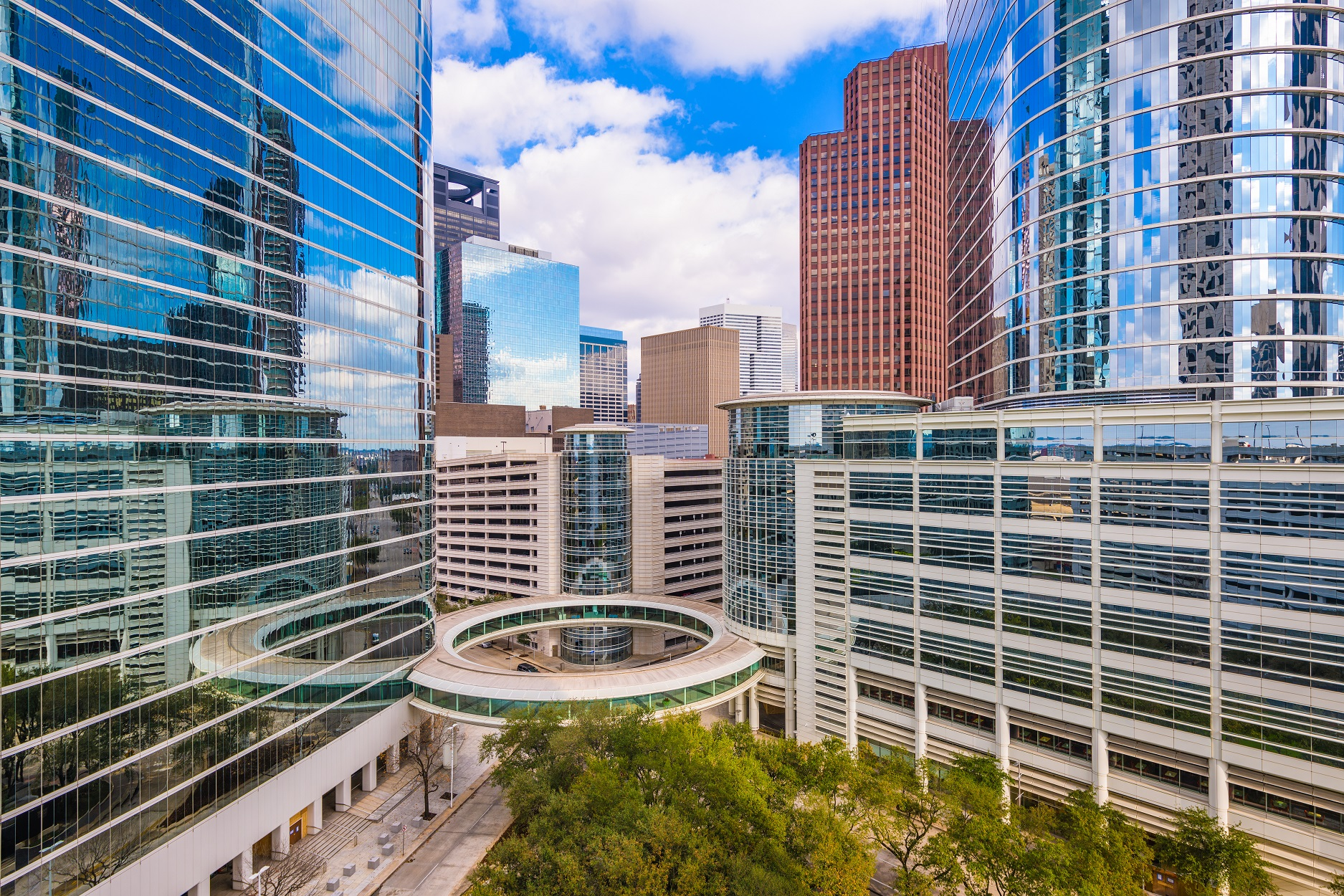 buildings in downtown houston with window film